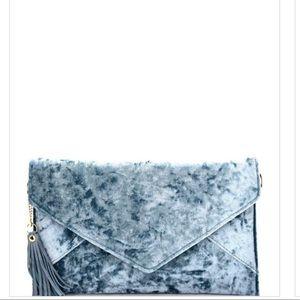 Tassel Accent Faux-Velvet Envelope Clutch
